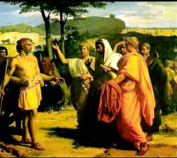 I rappresentanti del Senato incontrano Cincinnato nel suo podere.