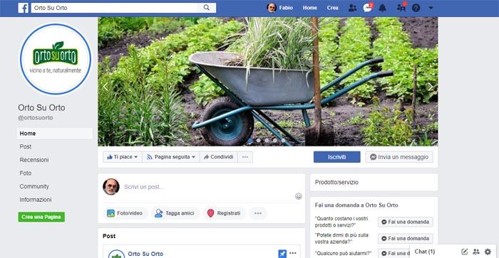 La pagina Facebook do OrtosuOrto