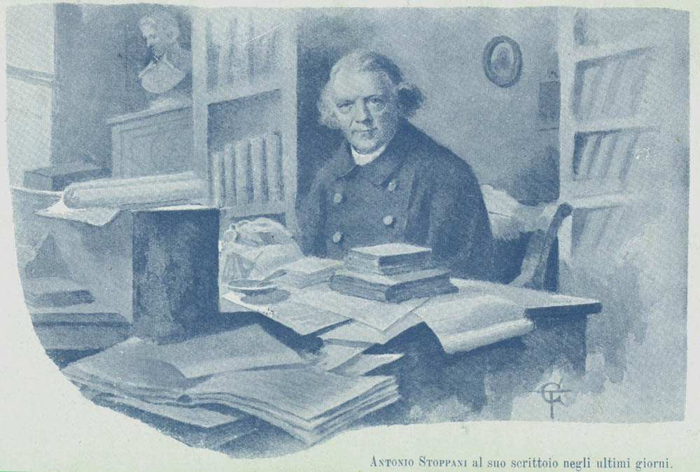 Antonio Stoppani al suo scrittoio.